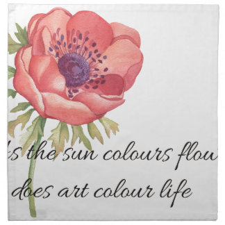 As the sun colours flowers napkin
