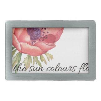 As the sun colours flowers rectangular belt buckles
