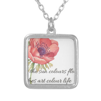 As the sun colours flowers silver plated necklace