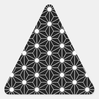 Asanoha black leaf triangle sticker