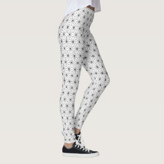 Asanoha Japanese Pattern Black and White Leggings