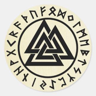 Asatru, old norse religion, symbols, odin & Thor Classic Round Sticker