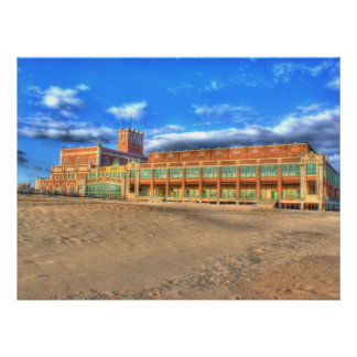 Asbury Park Convention Hall Beach Gloss Canvas Poster