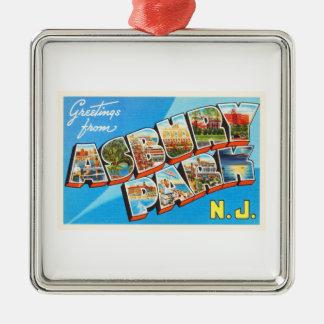 Asbury Park New Jersey NJ Vintage Travel Postcard- Metal Ornament