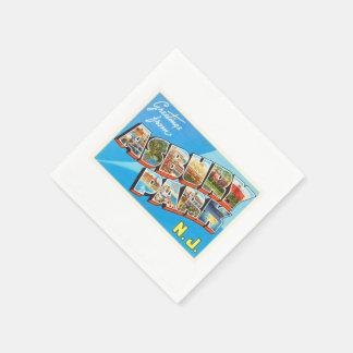 Asbury Park New Jersey NJ Vintage Travel Postcard- Paper Napkin