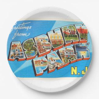 Asbury Park New Jersey NJ Vintage Travel Postcard- Paper Plate