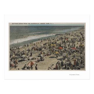 Asbury Park, NJ - Bathing Scene from Boardwalk Postcard