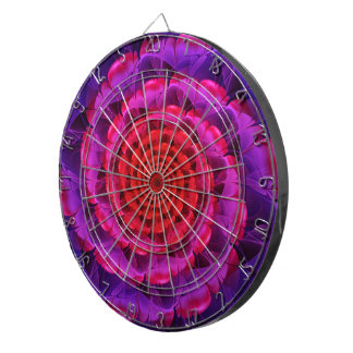 Ascension of a Vermilion Rose Fractal Spiral Bloom Dartboard