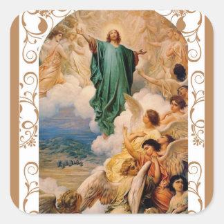 Ascension of Jesus into Heaven w/ Angels Square Sticker