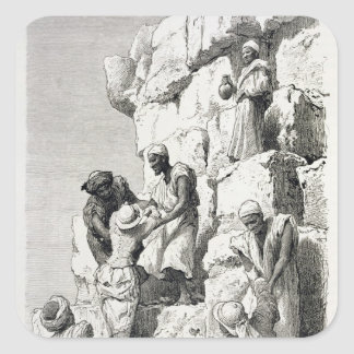 Ascent of the Great Pyramid, 19th century Square Sticker