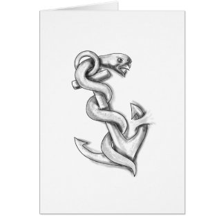 Asclepius Snake Curling Up on Anchor Tattoo Card