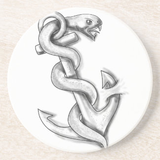 Asclepius Snake Curling Up on Anchor Tattoo Coaster
