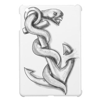 Asclepius Snake Curling Up on Anchor Tattoo iPad Mini Case