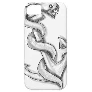 Asclepius Snake Curling Up on Anchor Tattoo iPhone 5 Case