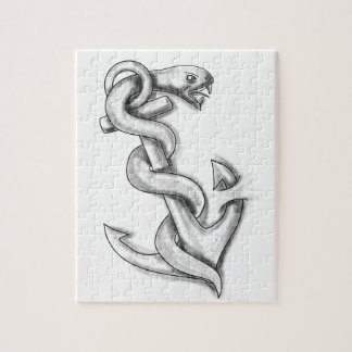 Asclepius Snake Curling Up on Anchor Tattoo Jigsaw Puzzle