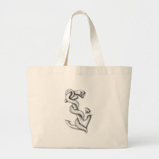 Asclepius Snake Curling Up on Anchor Tattoo Large Tote Bag