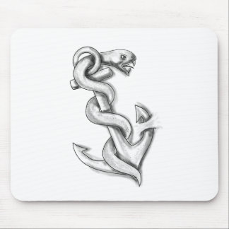 Asclepius Snake Curling Up on Anchor Tattoo Mouse Pad