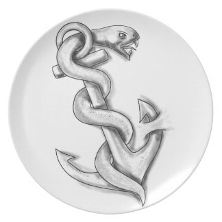 Asclepius Snake Curling Up on Anchor Tattoo Plate