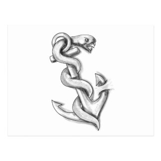 Asclepius Snake Curling Up on Anchor Tattoo Postcard