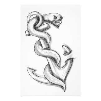 Asclepius Snake Curling Up on Anchor Tattoo Stationery
