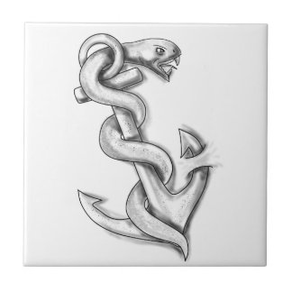 Asclepius Snake Curling Up on Anchor Tattoo Tile