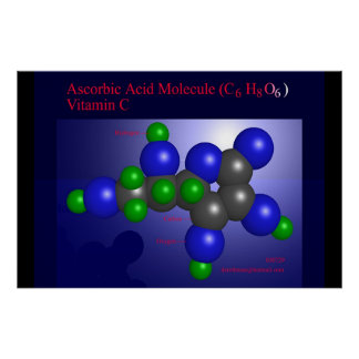 Ascorbic Acid Molecule (print) Poster