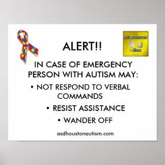 "ASD Houston Autism ""ALERT"" Poster"