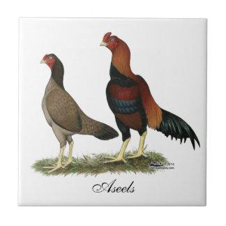 Aseel Wheaten Chickens Ceramic Tiles
