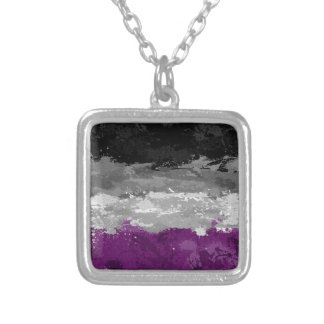 Asexual Paint Splatter Flag Silver Plated Necklace
