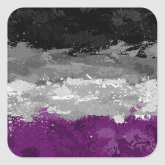 Asexual Paint Splatter Flag Square Sticker