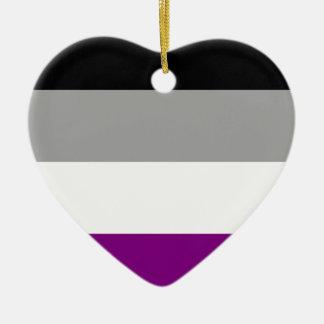 Asexual Pride Flag Ceramic Heart Ornament