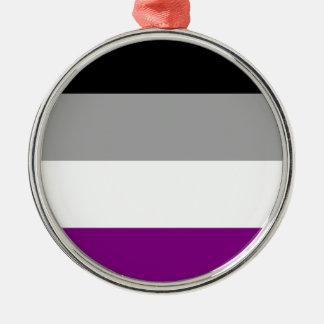 Asexual Pride Flag Silver-Colored Round Ornament
