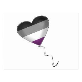 Asexual Pride Heart Balloon Postcard