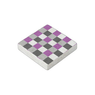 Asexuality colors checkered pattern stone magnets