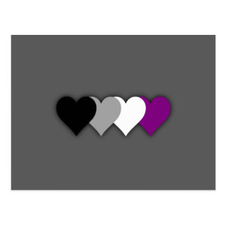 Asexuality pride hearts postcard
