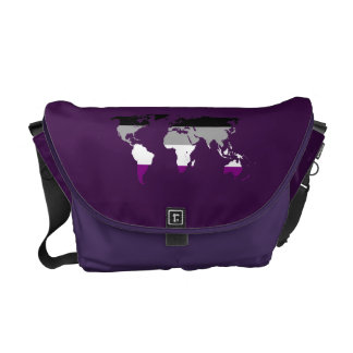 Asexuality pride world map messenger bag