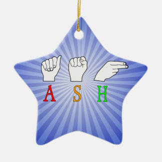 ASH FINGERSPELLED ASL NAME SIGN CERAMIC ORNAMENT
