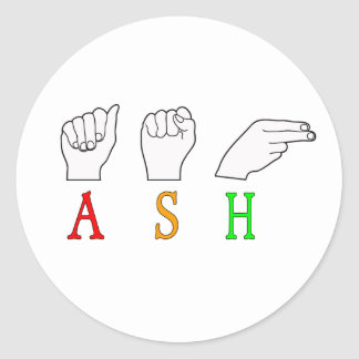 ASH FINGERSPELLED ASL NAME SIGN CLASSIC ROUND STICKER