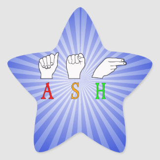 ASH FINGERSPELLED ASL NAME SIGN STAR STICKER