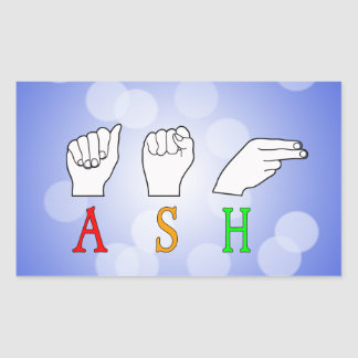 ASH FINGERSPELLED ASL NAME SIGN STICKER