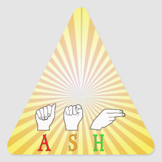 ASH FINGERSPELLED ASL NAME SIGN TRIANGLE STICKER
