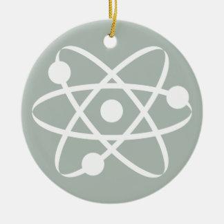 Ash Gray Atom Round Ceramic Ornament