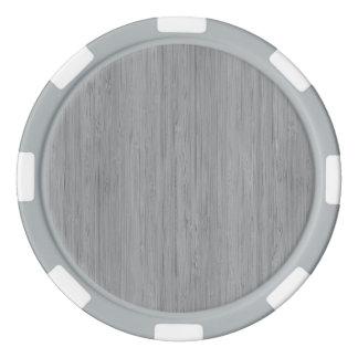 Ash Gray Bamboo Wood Grain Look Set Of Poker Chips