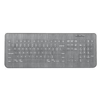Ash Gray Bamboo Wood Grain Look Wireless Keyboard