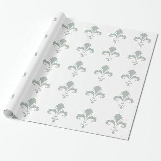 Ash Gray Fleur de lis Wrapping Paper