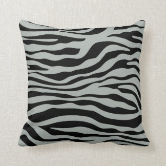 Ash Gray; Grey and Black Zebra Animal Print Throw Pillow