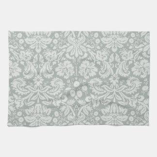 Ash Gray; Grey Damask Pattern Kitchen Towel
