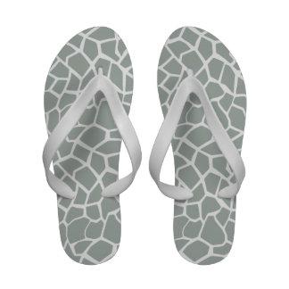 Ash Gray Grey Giraffe Animal Print Flip Flops