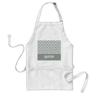 Ash Gray; Grey Quatrefoil; Personalized Standard Apron