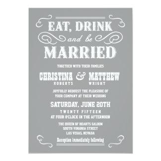 Ash Gray Old West Wedding Invitations